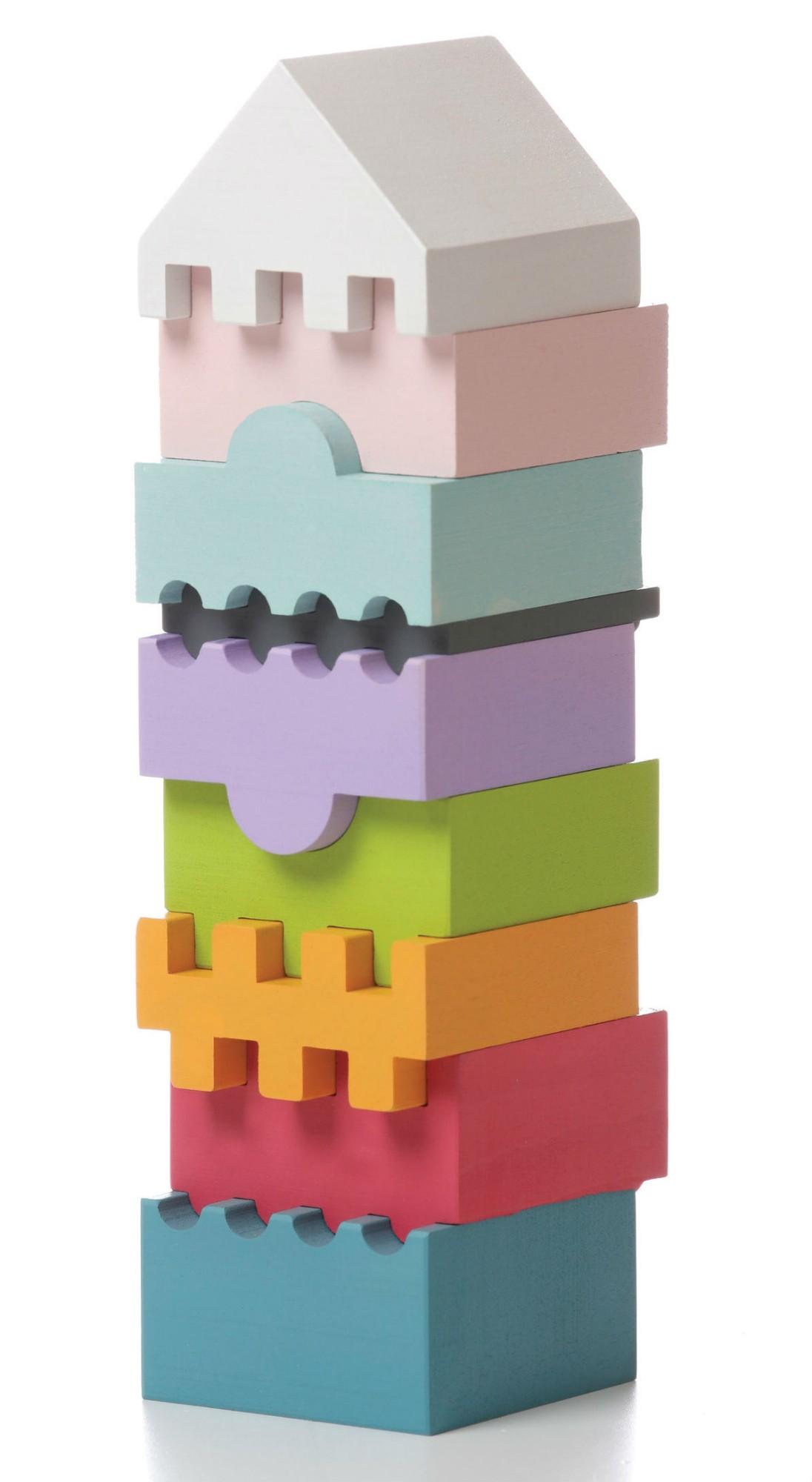 Medinių kaladėlių rinkinys CUBIKA Bokštas 2 vaikams nuo 1,5 metų (11315)