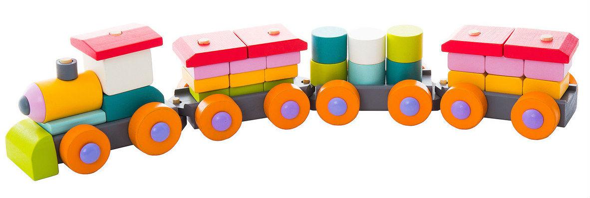 Medinių kaladėlių rinkinys CUBIKA Traukinukas vaikams nuo 1,5 metų (13319)