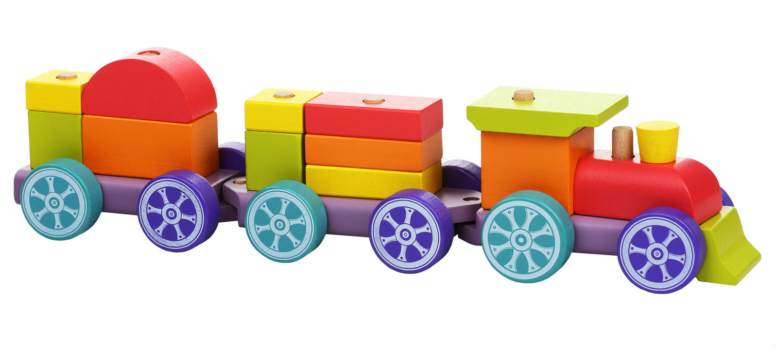 Medinių kaladėlių rinkinys CUBIKA Traukinukas – vaivorykštės ekspresas vaikams nuo 1,5 metų (12923)