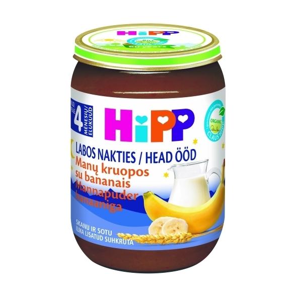 Ekologiška pieniška grūdų košelė su bananais HIPP LABOS NAKTIES (nuo 4 mėn.), 190 g