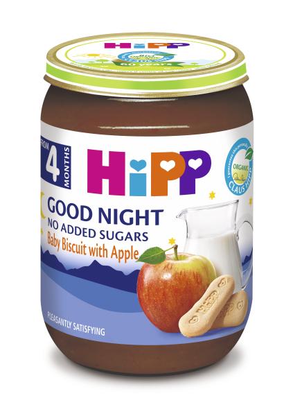 Ekologiška grūdų košelė su pieno mišiniu, kūdikių sausainiais ir obuoliais HIPP LABOS NAKTIES (nuo 4 mėn.), 190 g