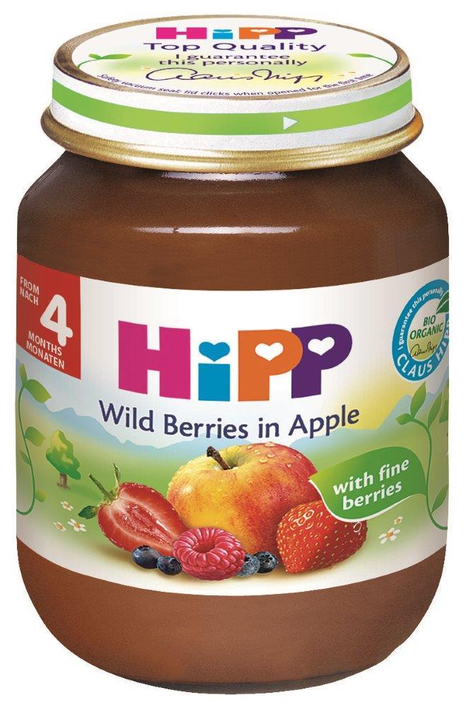 Ekologiška miško uogų ir obuolių tyrelė HIPP (nuo 4 mėn.), 125 g
