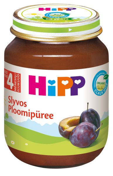 Ekologiška slyvų tyrelė HIPP (nuo 4 mėn.), 125 g