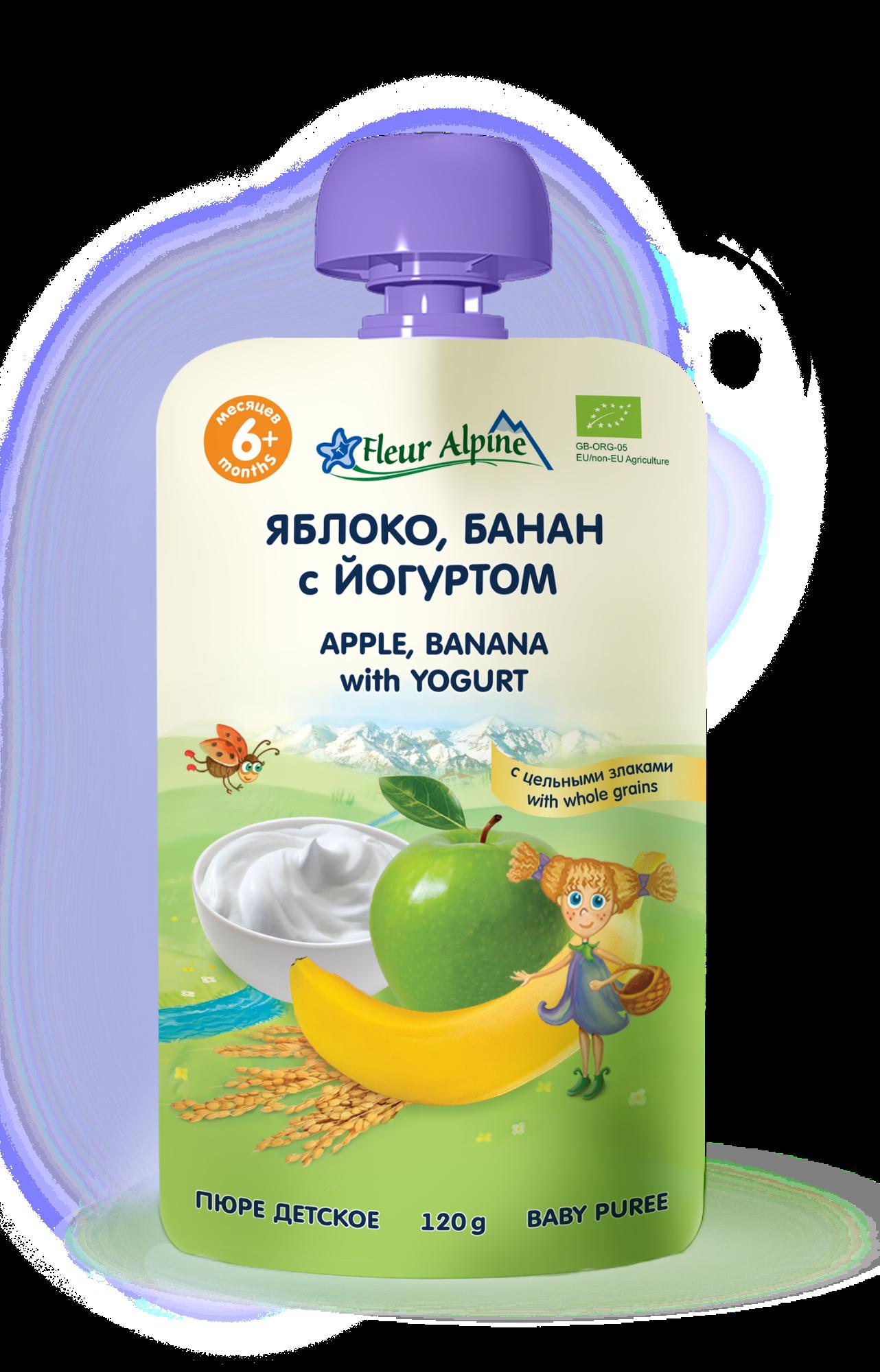 Ekologiška obuolių ir bananų tyrelė FLEUR ALPINE su jogurtu nuo 6 mėn., 120 g