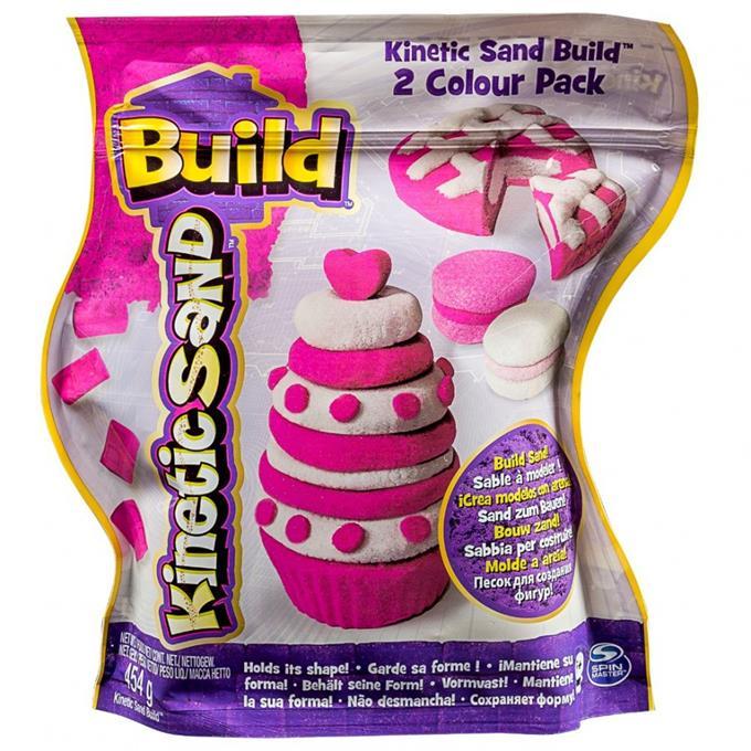 Kinetinis smėlis KINETIC SAND Build vaikams nuo 3 metų (rožinis ir blizgantis baltas), 454 g