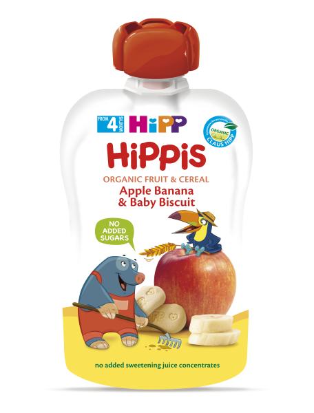 Ekologiška obuolių ir bananų tyrelė su sausainiais HIPP (nuo 4 mėn.), 100 g