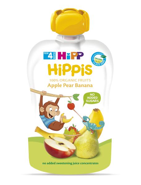 Ekologiška obuolių, kriaušių ir bananų tyrelė HIPP (nuo 4 mėn.), 100 g