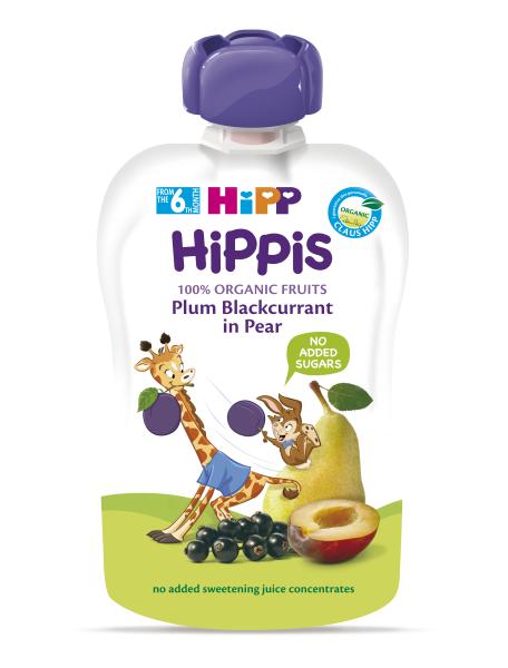 Ekologiška kriaušių, slyvų, juodųjų serbentų tyrelė HIPP (nuo 6 mėn.), 100 g