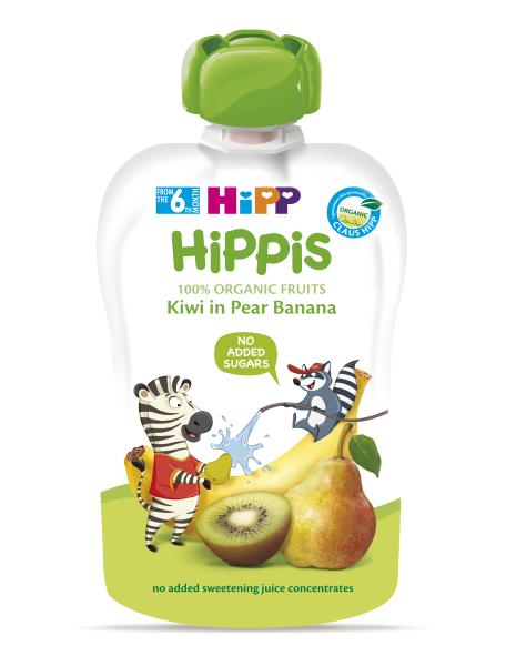 Ekologiška kriaušių, bananų ir kivių tyrelė HIPP (nuo 6 mėn.), 100 g