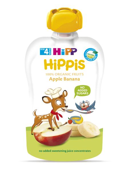 Ekologiška obuolių ir bananų tyrelė HIPP (nuo 4 mėn.), 100 g