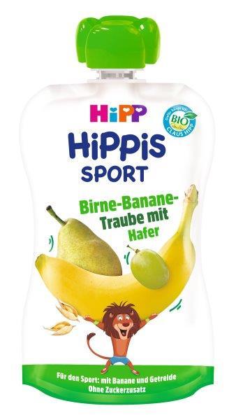 Ekologiška kriaušių, bananų ir vynuogių tyrelė su avižomis HIPP SPORT (nuo 1 metų), 120 ml