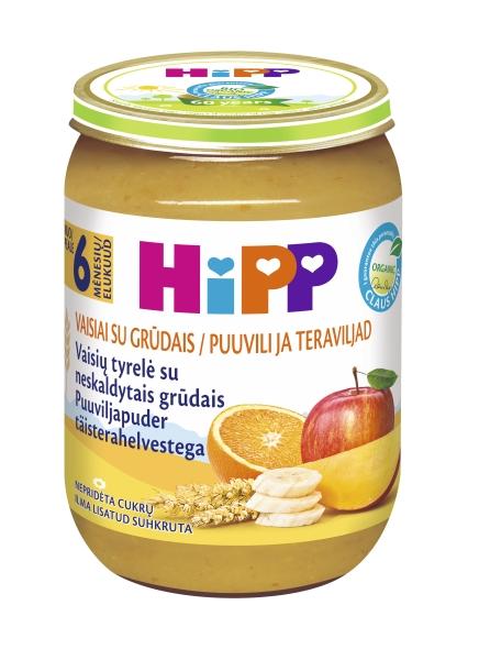 Ekologiška įvairių vaisių tyrelė HIPP su grūdais (nuo 6 mėn.), 190 g