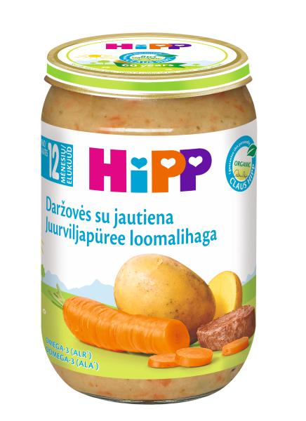 Ekologiška daržovių tyrelė HIPP su jautiena (nuo 12 mėn.), 220 g