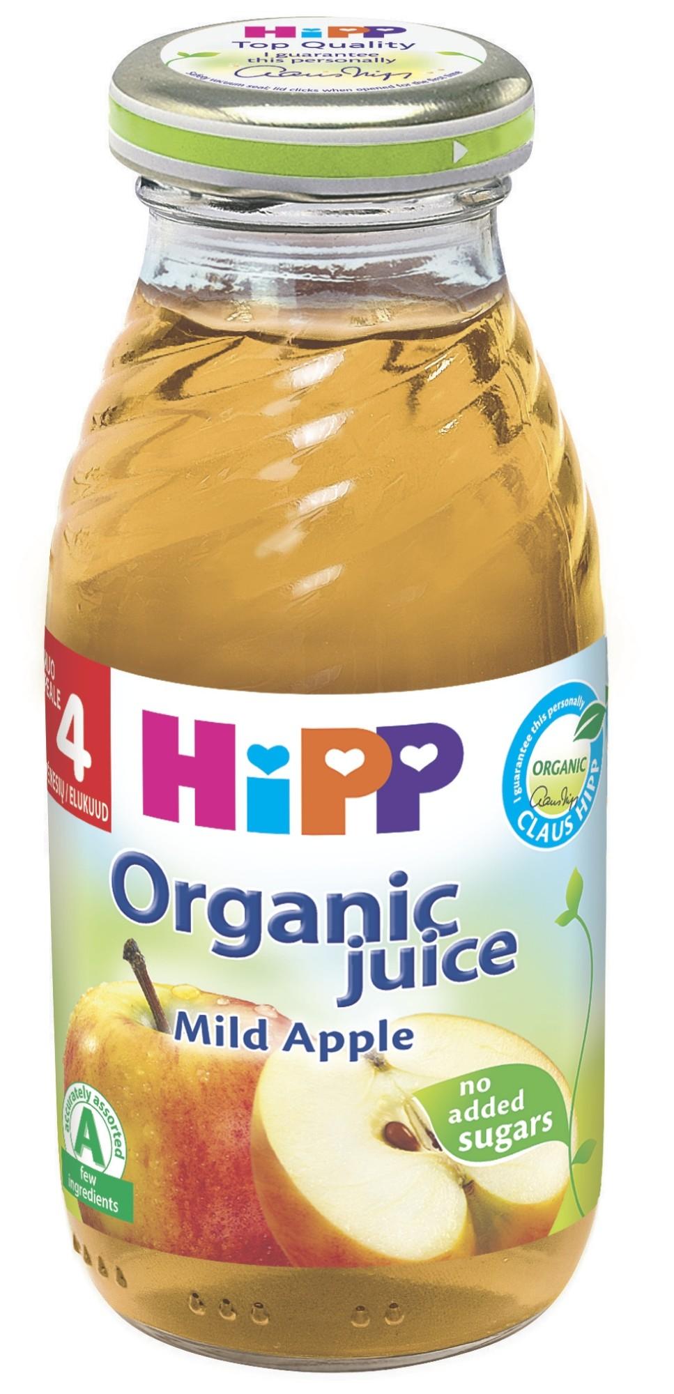 Ekologiškos švelnios obuolių sultys HIPP (nuo 4 mėn.), 200 ml