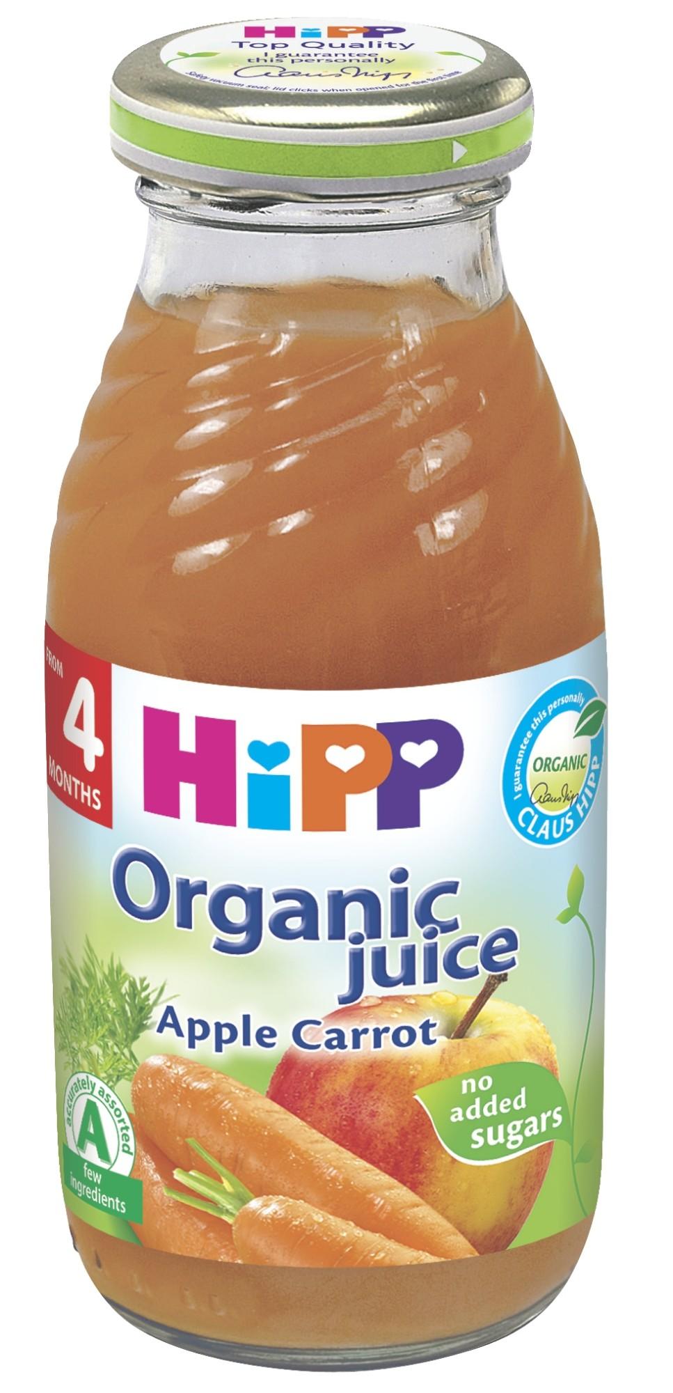 Ekologiškos obuolių ir morkų sultys HIPP (nuo 4 mėn.), 200 ml