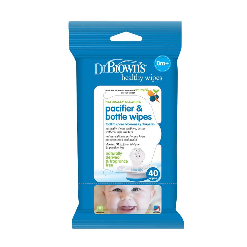 Drėgnos servetėlės žindukams ir buteliukams prižiūrėti DR.BROWN'S nuo 0 mėn., 40 vnt.