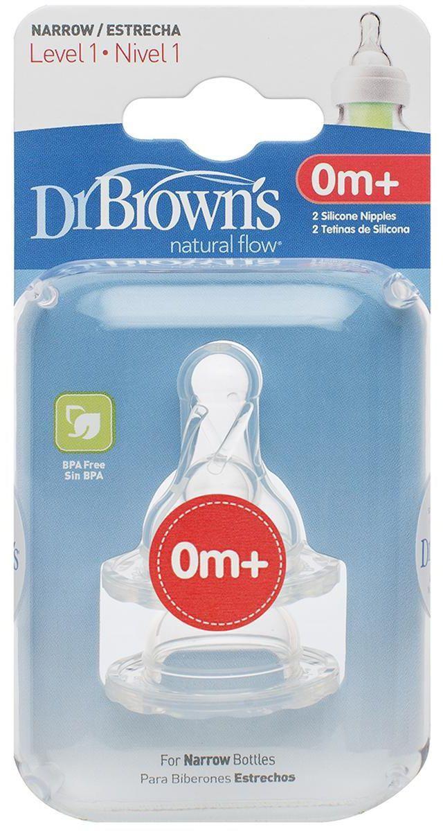 I lygio žindukai siauro kaklelio buteliukams DR.BROWN'S nuo 0 iki 3 mėn., 2 vnt.