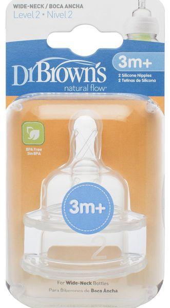 II lygio žindukai plataus kaklelio buteliukams DR.BROWN'S nuo 3 iki 6 mėn., 2 vnt.