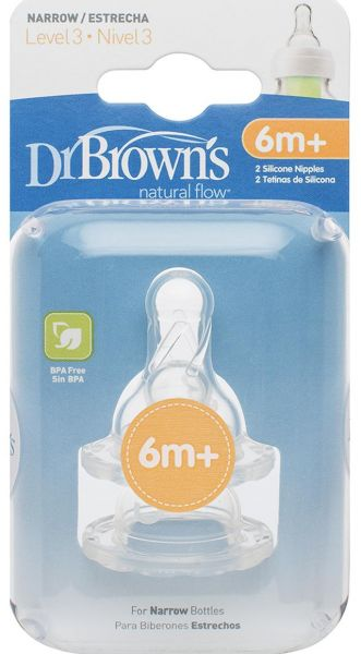 III lygio žindukai siauro kaklelio buteliukams DR.BROWN'S nuo 6 iki 9 mėn., 2 vnt.
