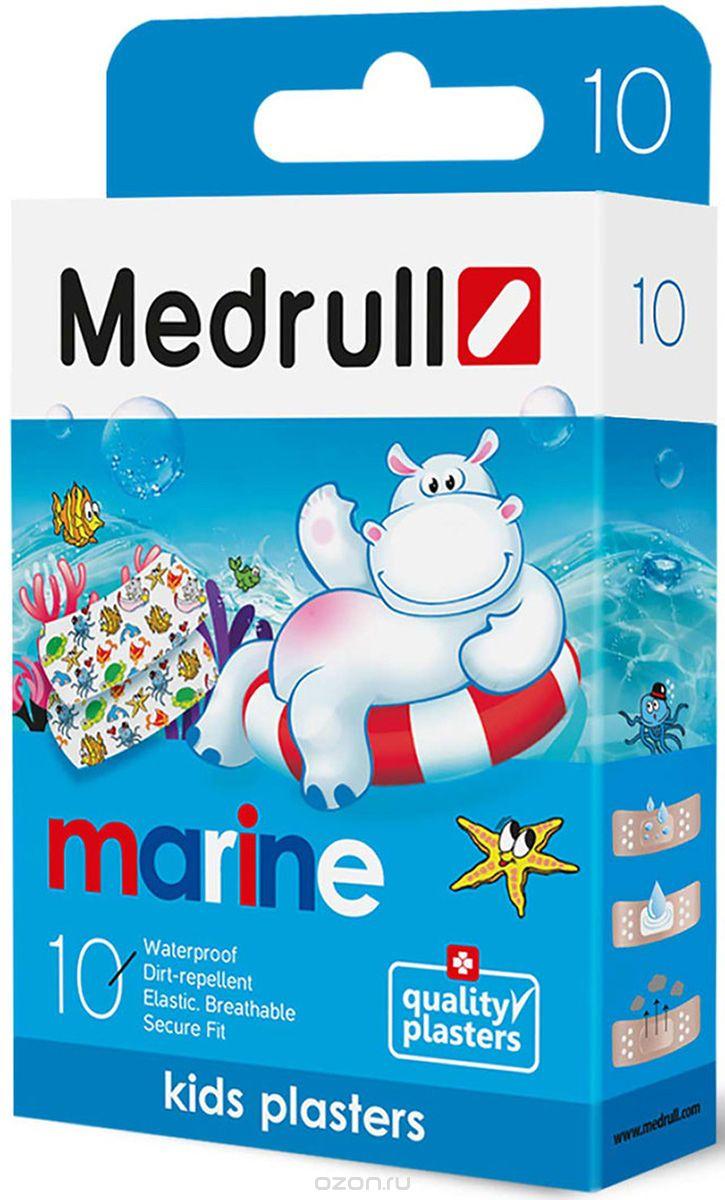 Vaikiškas pleistras MEDRULL Kids Marine su paveiksliukais kūdikiams nuo 3 mėn., 10 vnt.