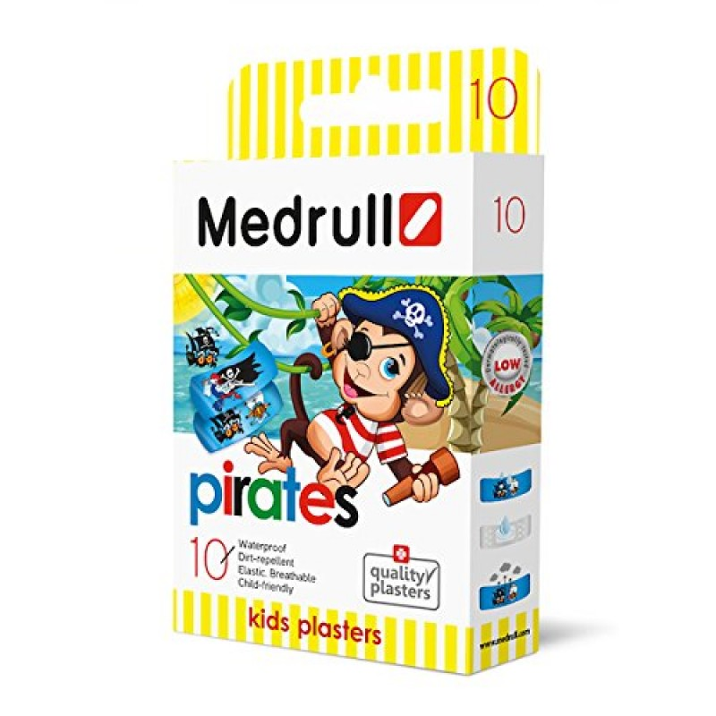 Vaikiškas pleistras MEDRULL Piratai kūdikiams nuo 3 mėn., 10 vnt.