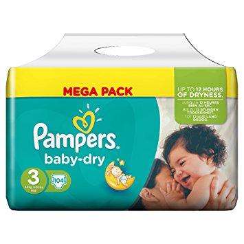 Sauskelnės PAMPERS Baby-dry, 3 dydis (4-9kg), MEGA pack 104 vnt.