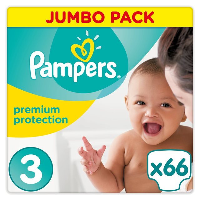 PAMPERS Premium Protection New Baby sauskelnės 3 dydis (5-9kg) Jumbo pack, 66 vnt.