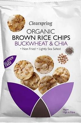 Ekologiški rudųjų ryžių trapučiai su chia sėklomis CLEARSPRING, 60g