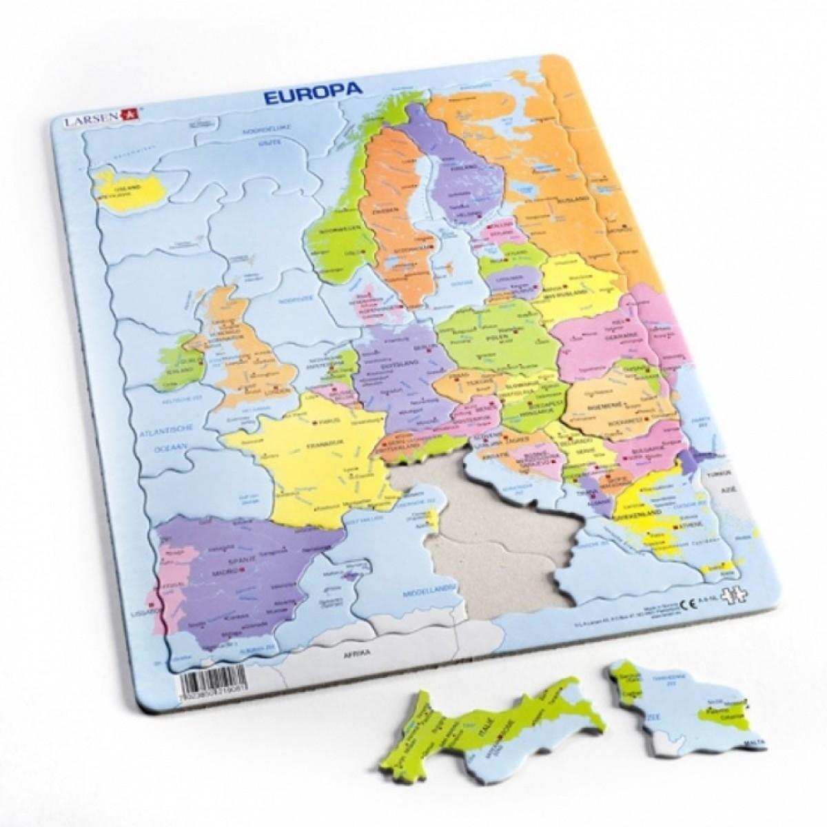 Lietuviška dėlionė LARSEN Europos Politinis Žemėlapis Maxi 3-7 metų vaikams