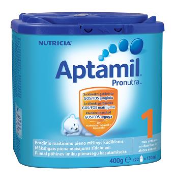 Pieno mišinys APTAMIL 1 Pronutra 0-6 mėn. kūdikiams, 400 g