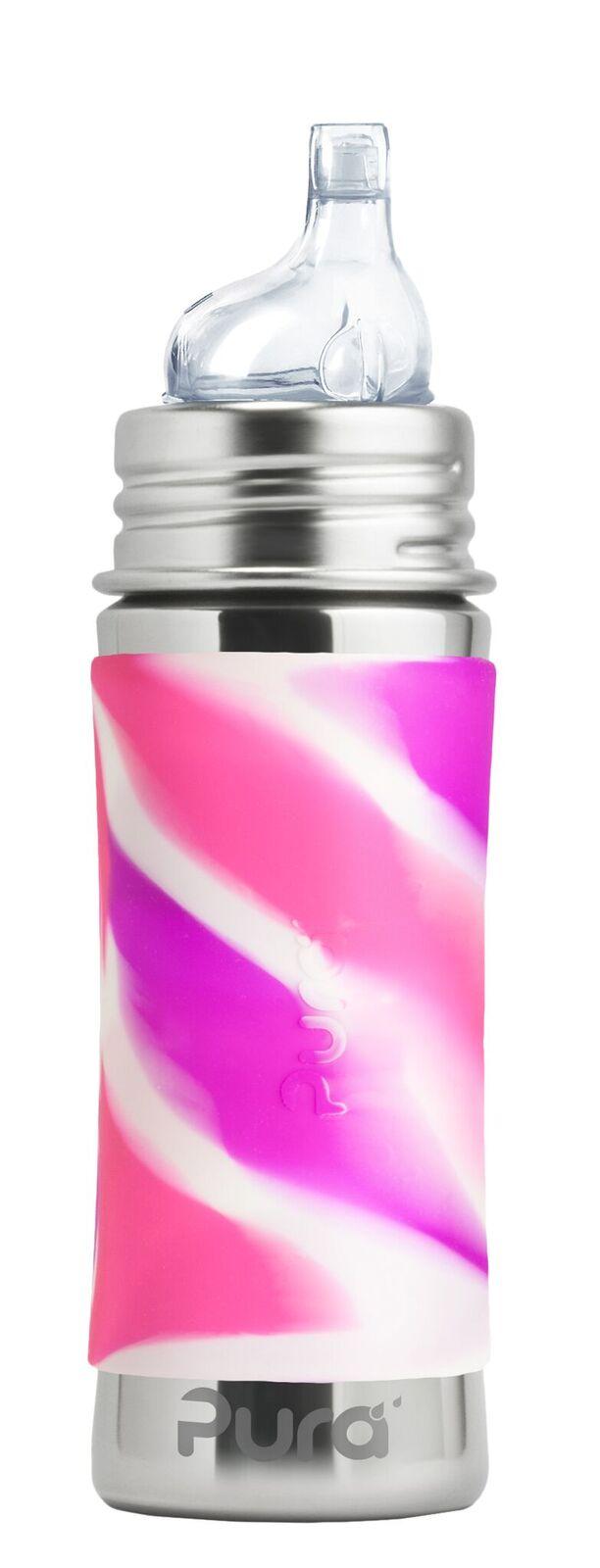 Margas rožinis buteliukas PURA KIKI su snapeliu kūdkiams nuo 6 mėn, 325 ml
