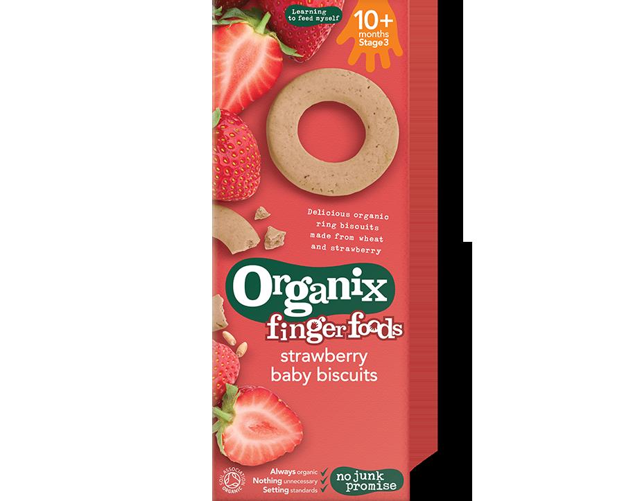 Ekologiški sausainiai ORGANIX su braškėmis kūdikiams nuo 7 mėnesių, 54 g