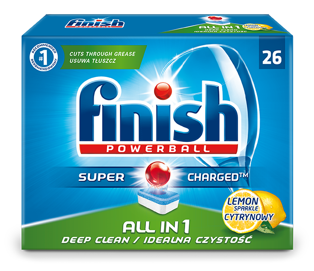 Tabletės indaplovėms FINISH All in 1 Powerball 26 vnt, Lemon
