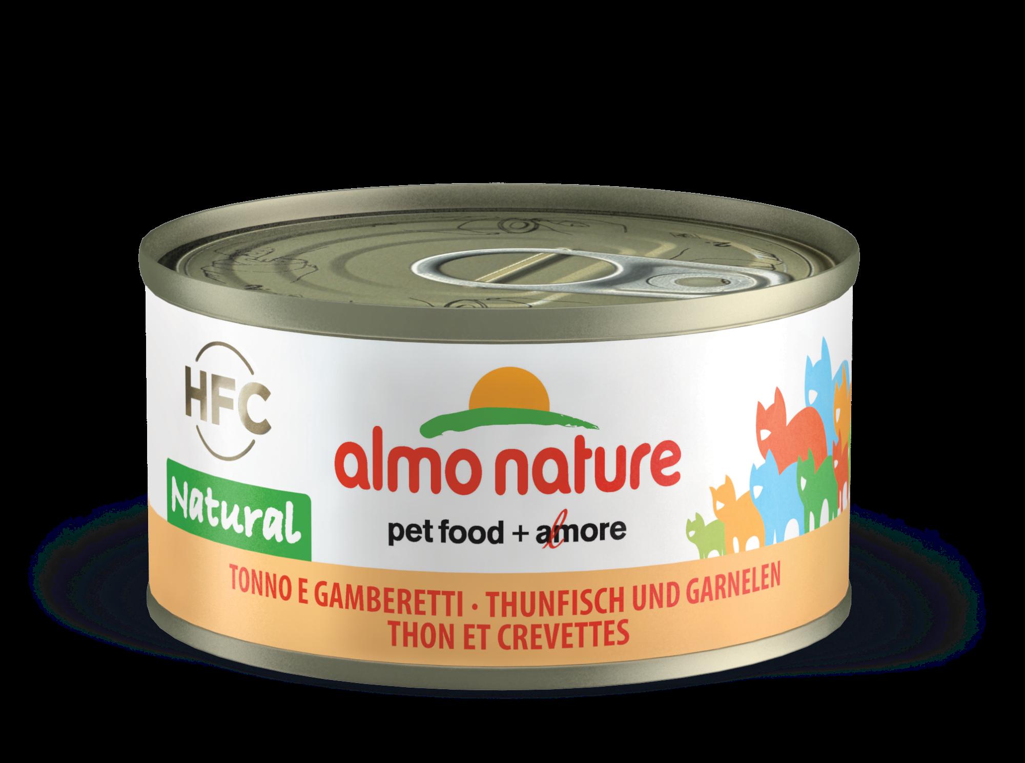 Konservai katėms – ALMO NATURE HFC Natural, tunas su krevetėmis, 70g
