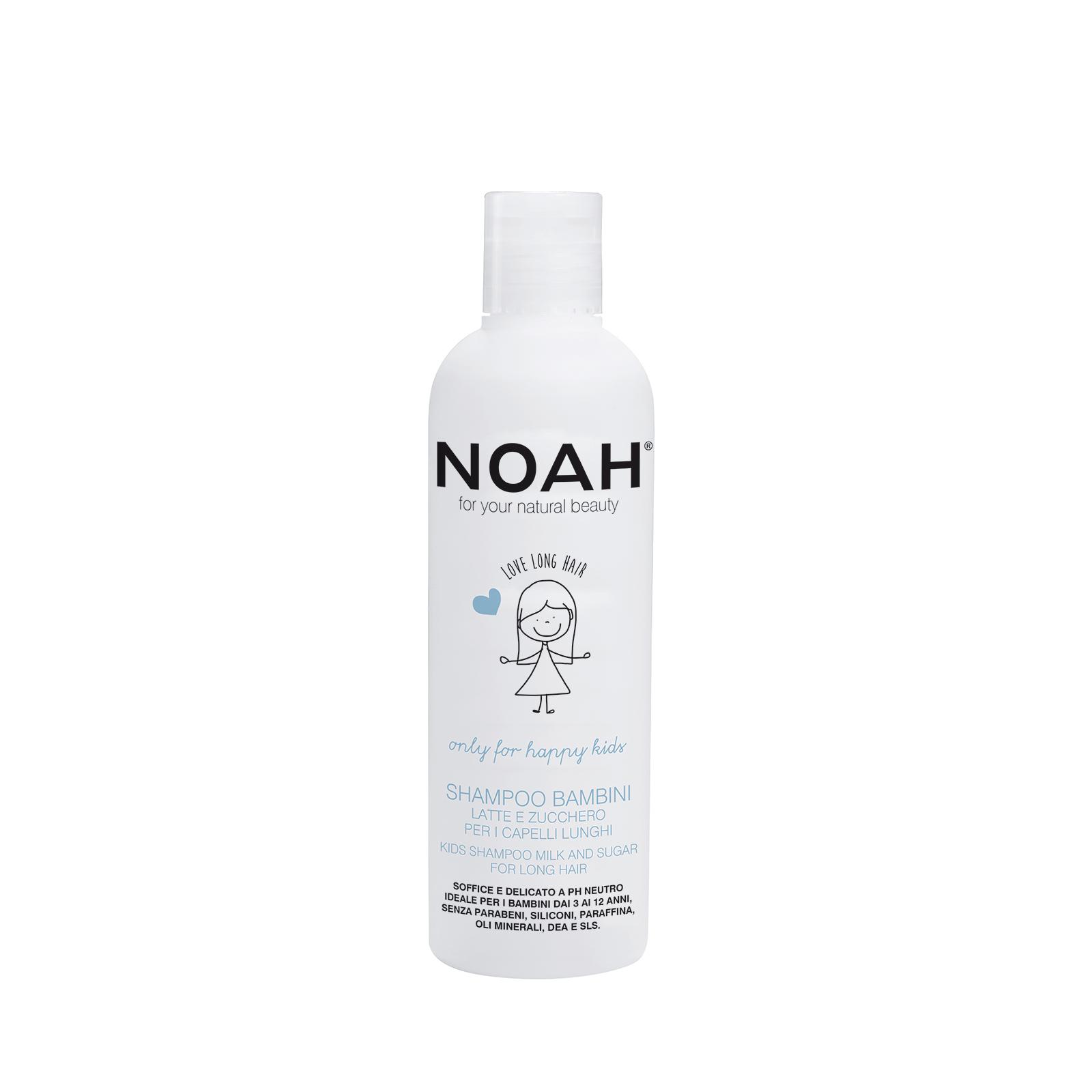 Vaikiškas šampūnas NOAH su pienu ir cukrumi ilgiems plaukams, 250 ml