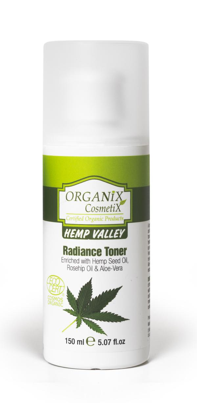 Švytėjimo odai suteikiantis tonikas Organix Cosmetix Hemp Valley, 150 ml