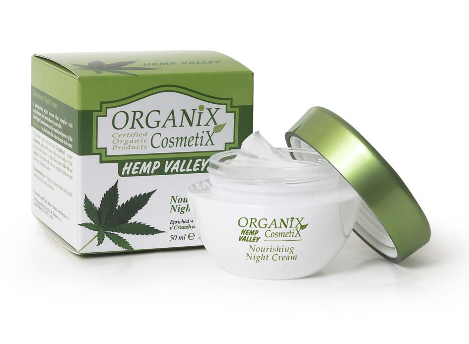 Maitinamasis naktinis kremas Organix Cosmetix Hemp Valley, 50 ml