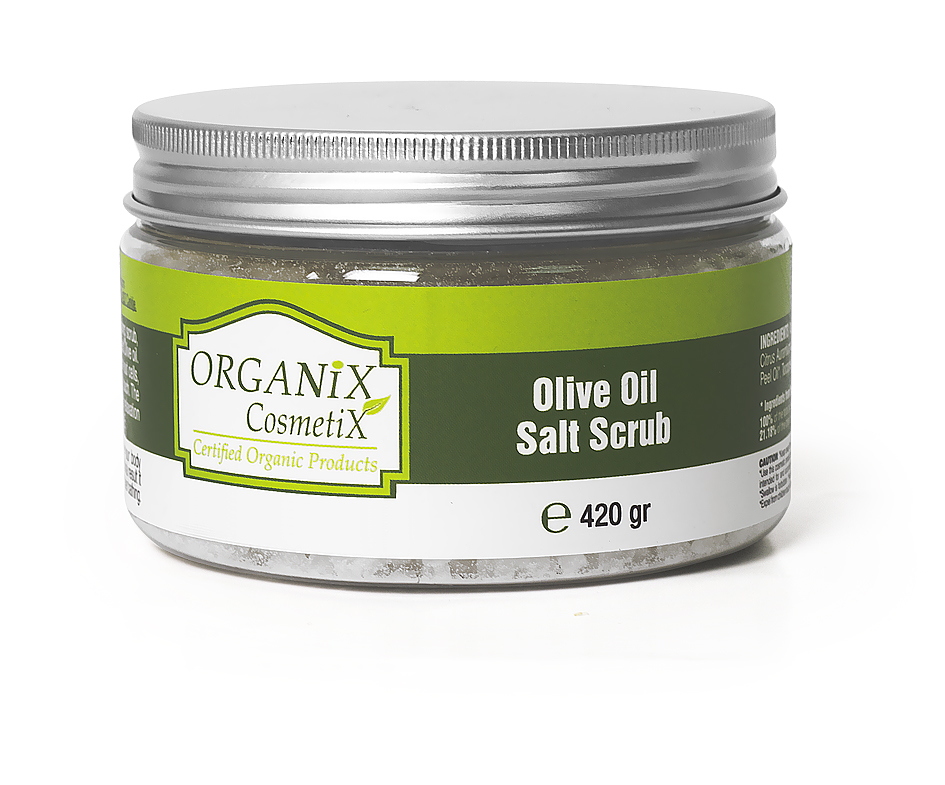 Kūno šveitiklis Organix Cosmetix Hemp Valley su alyvuogių aliejumi ir Negyvosios jūros druska, 420 g