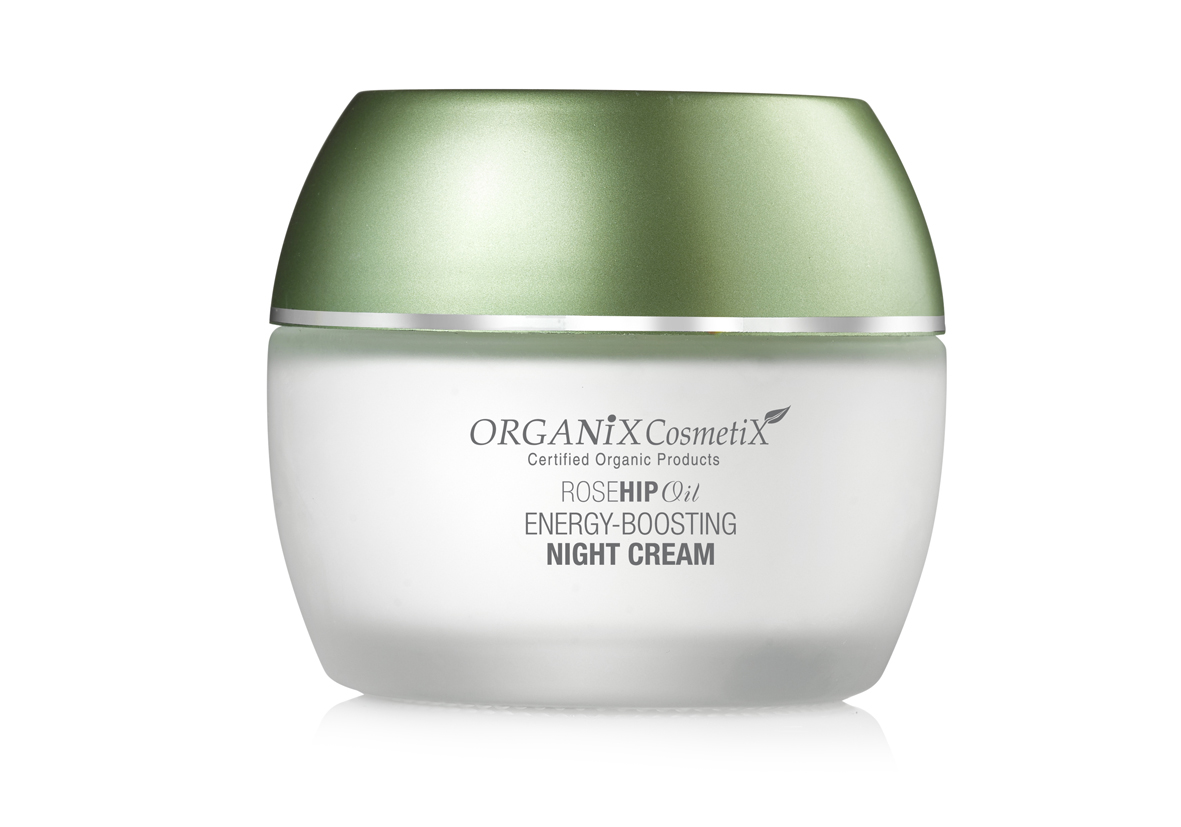 Energijos suteikiantis naktinis kremas Organix Cosmetix Rosehip Oil, 50 ml
