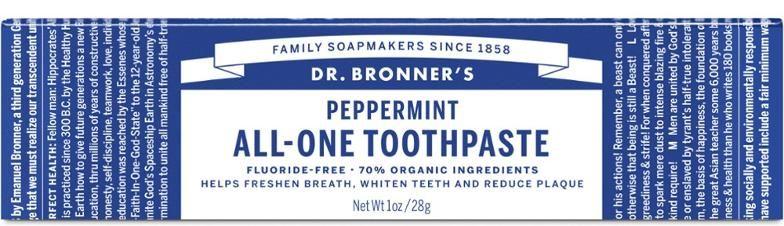 Ekologiška dantų pasta Dr.Bronner's PEPPERMINT(kelioninė pakuotė), 28 g
