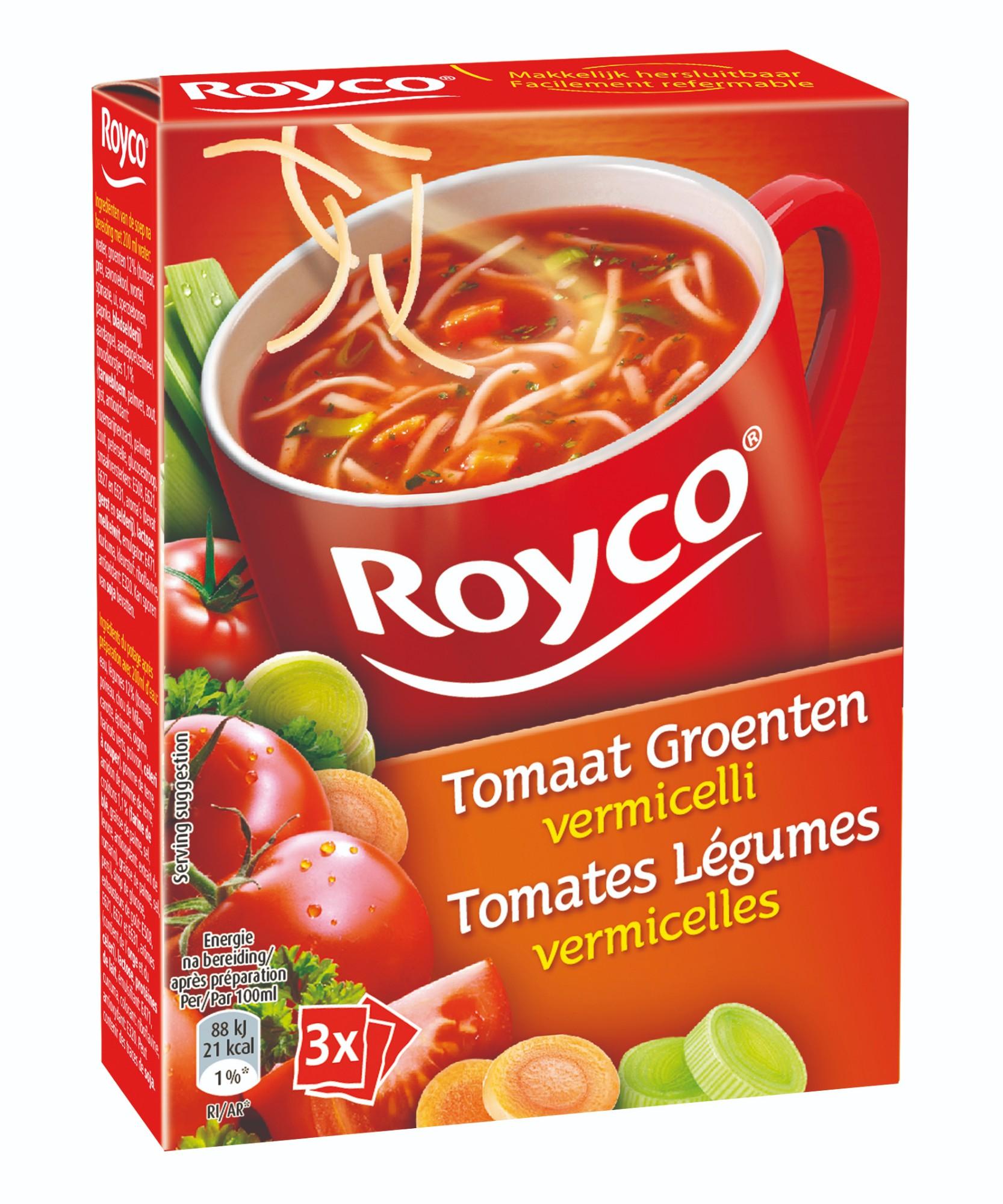 Greitai paruošiama pomidorų sriuba su daržovėmis ir vermišeliais, ROYCO, 3 pak.