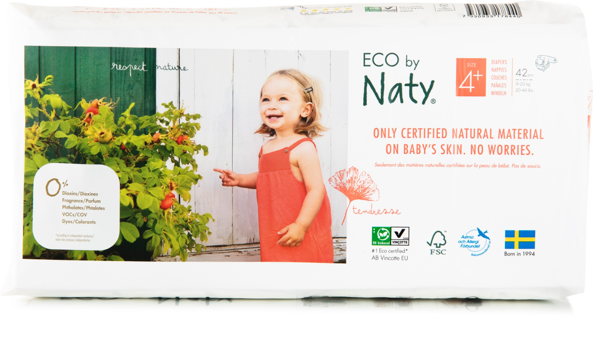 Ekologiškos sauskelnės NATY 4+ Maxi Plus 9-20 kg vaikams, 42vnt.