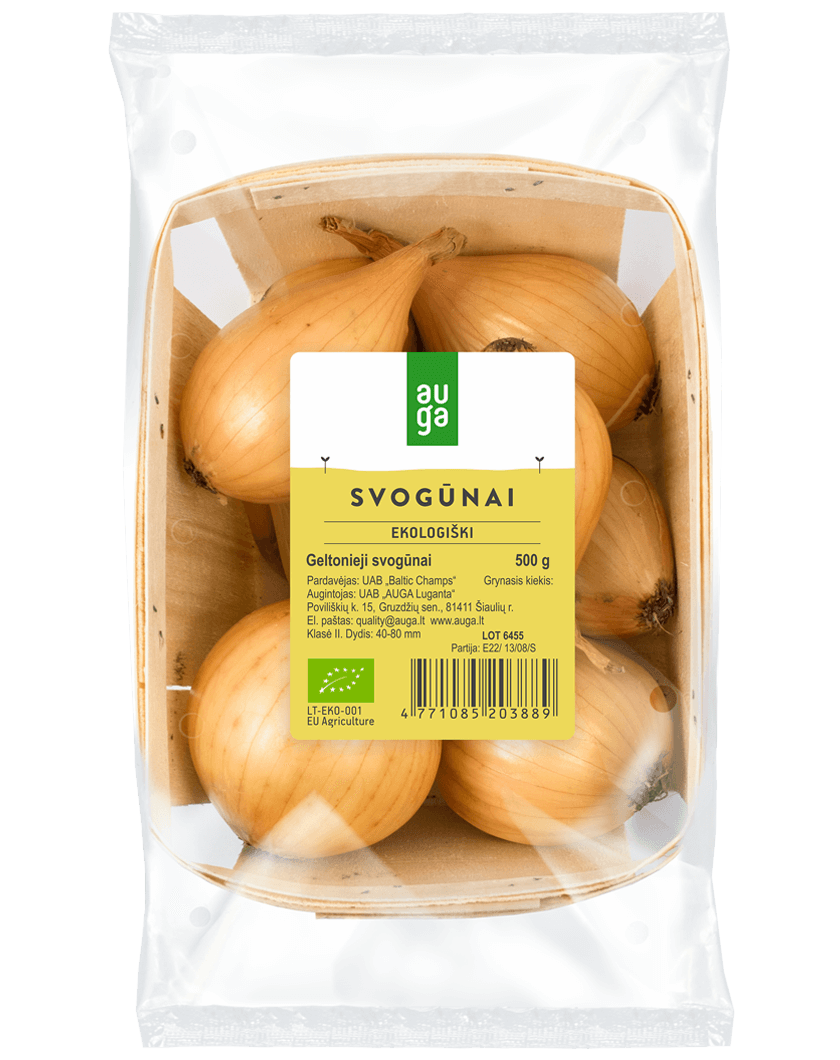 Ekologiški svogūnai fasuoti indelyje AUGA, 500g