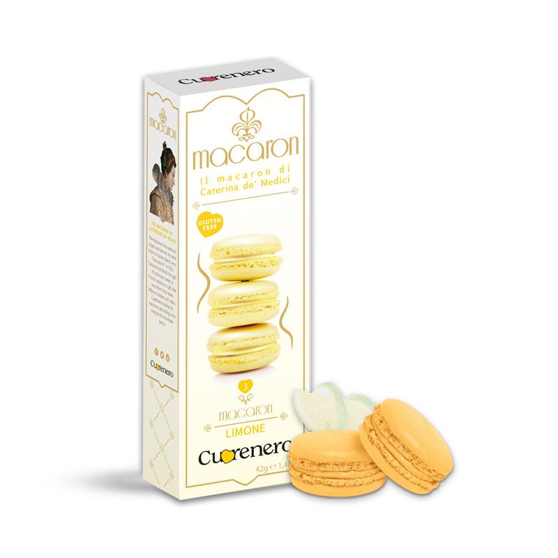 """Sausainiai """"Macarons"""" CUORENERO Limone, 42g"""