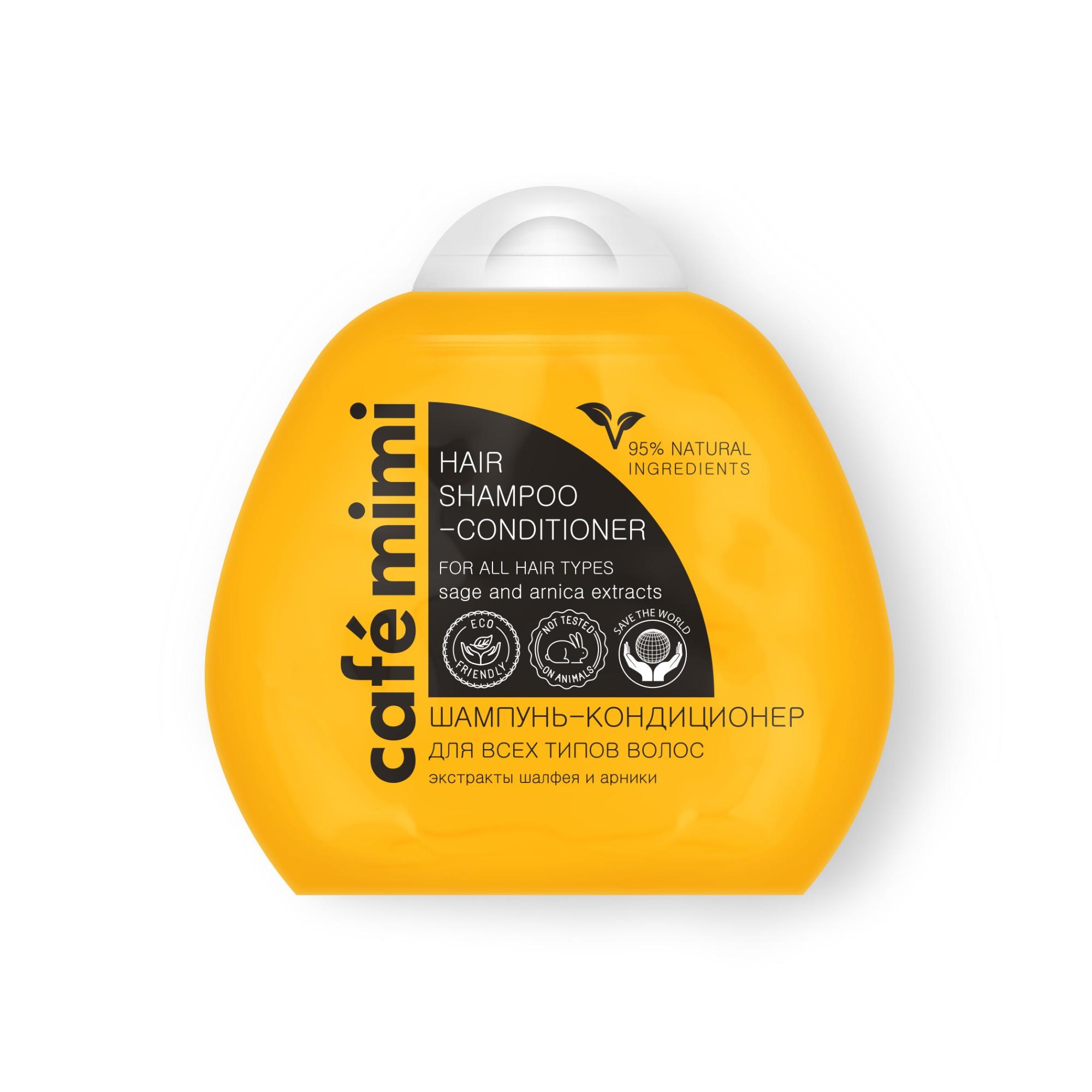 Šampūnas-kondicionierius CAFĖ MIMI visų tipų plaukams su šalavijų ir arnikos ekstraktais, 100 ml