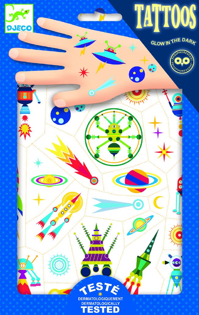 Vaikiškos tatuiruotės kūnui DJECO Space Oddity (DJ09590)