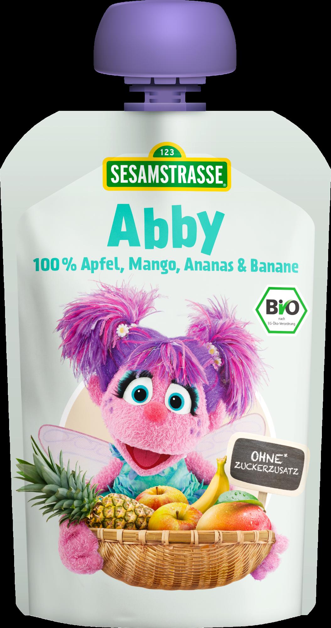 Ekologiška obuolių, mangų, ananasų ir bananų tyrelė SESAMSTRASSE Abby, 100 g