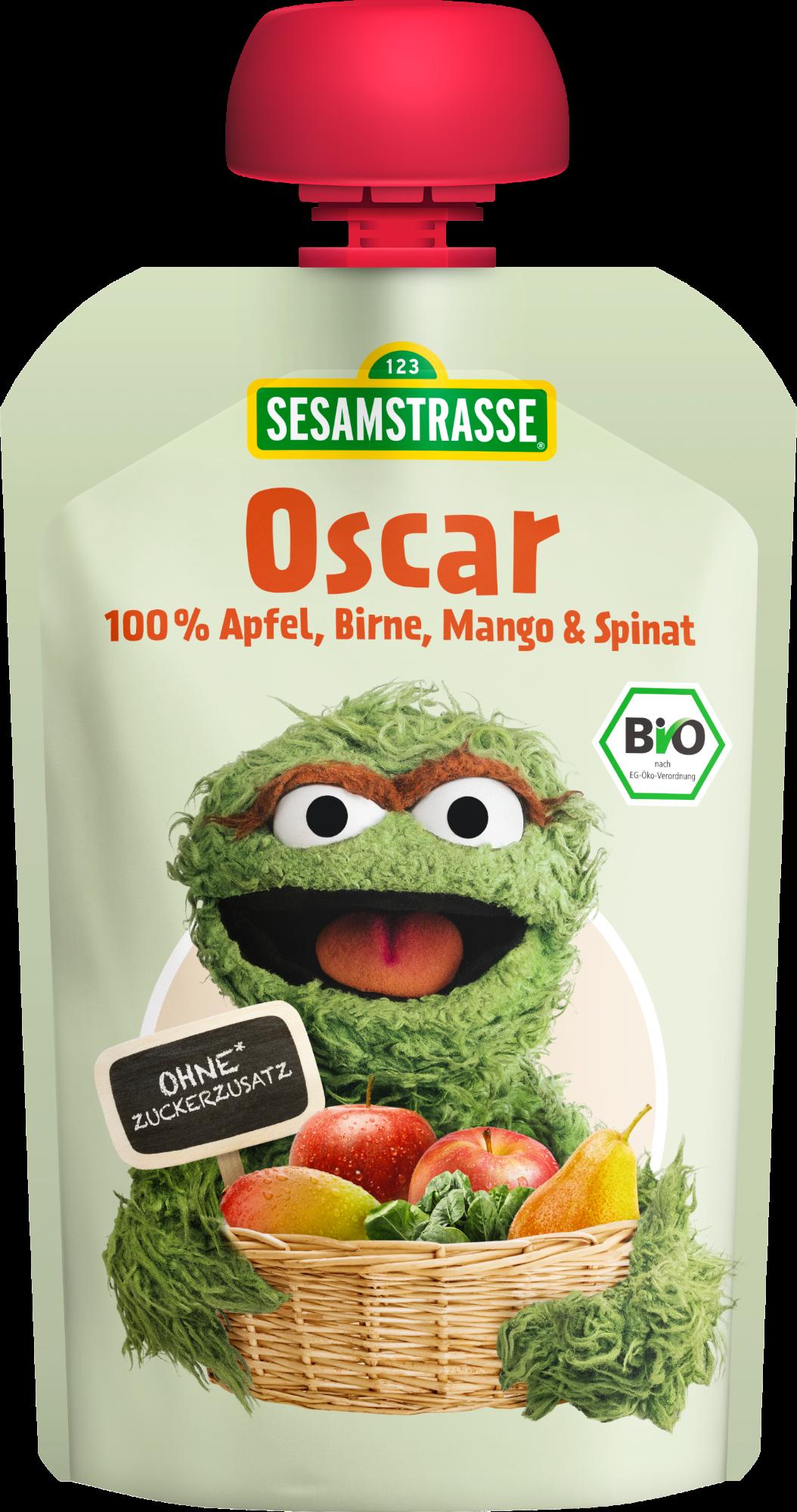 Ekologiška obuolių, kriaušių, mangų ir špinatų tyrelė SESAMSTRASSE Oscar, 100 g