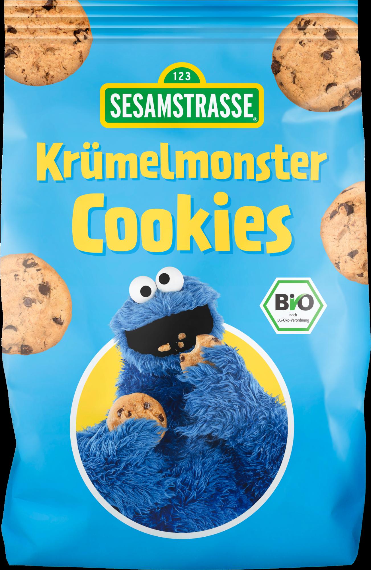 Ekologiški sausainiai su pilno grūdo avižomis ir šokoladu SESAMSTRASSE Monster, 150 g