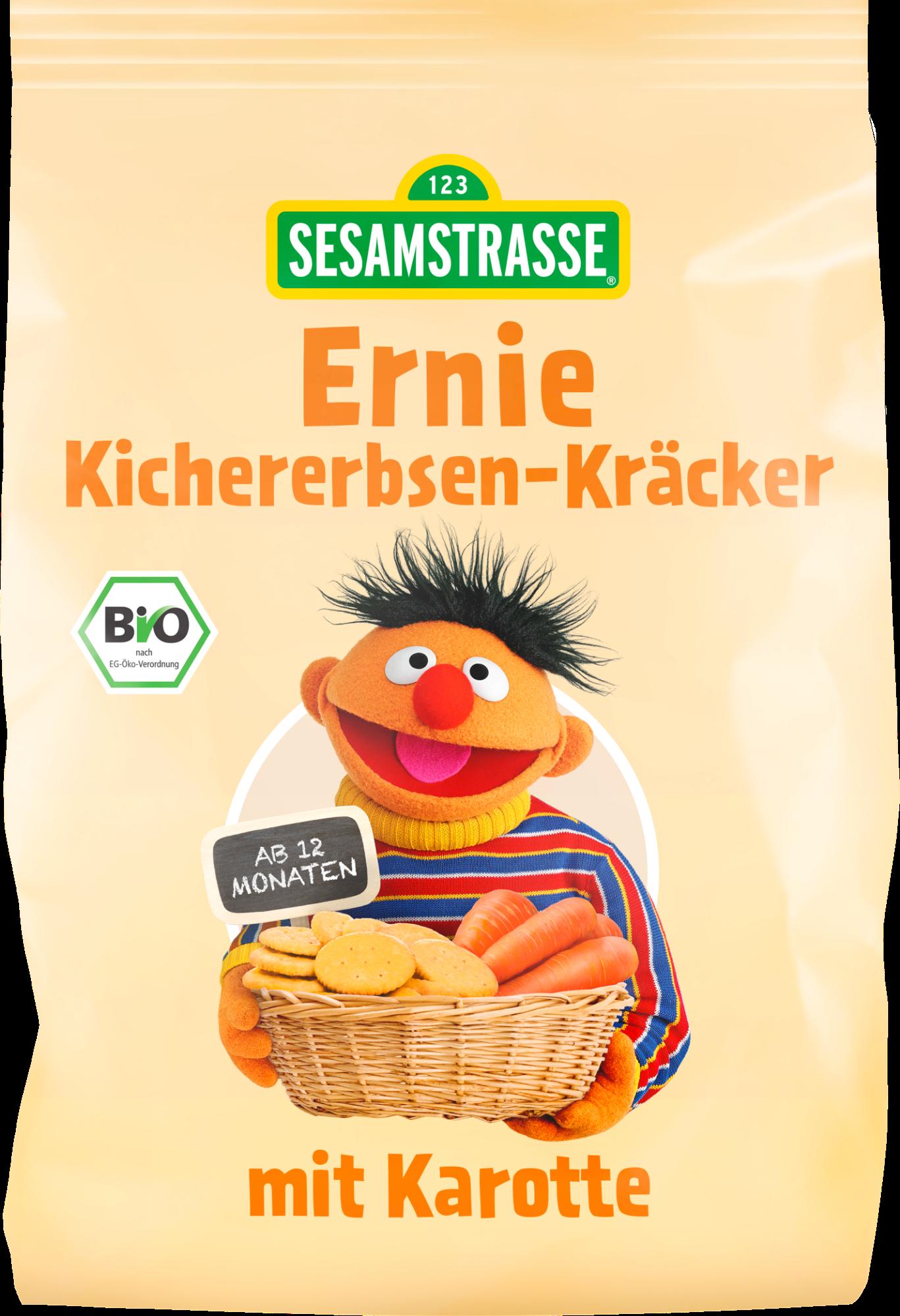 Ekologiški krekeriai su avinžirniais ir morkomis SESAMSTRASSE Ernie, 100 g